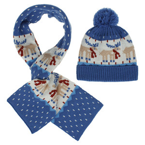Europe and America autumn and winter warm male and female baby Christmas gift cartoon jacquard hat scarf set