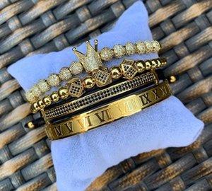3pcs set 4pcs set Men Bracelet Jewelry Crown Charms Macrame Beads Bracelets Braiding Man Luxury Jewelry For Women Bracelet Gift33