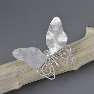 INATURE 925 Sterling Silver Butterfly Brooch For Women Fashion Wedding Jewelry