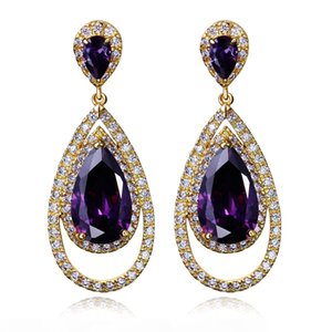 New Earrings For Party, 4 colors Available Cubic Zirconia in Stock, Big Water Drop Earrings
