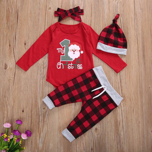 4 Pcs enfant en bas âge Costume Costume de Noël O-Neck manches longues Barboteuses Haut + Pantalon Rouge-Noir Plaid + Chapeau Hairband pour bébé fille