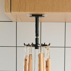 Kostenlose perforierte Küchenhaken Mehrzweck Haken Küchenwand Lagergestell Rotation Haken Spatel Home Speicherwerkzeuge