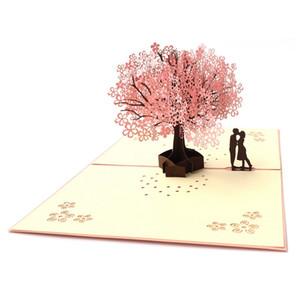 Tarjetas de felicitación del día de San Valentín 3D Hollow Out Tarjeta de cerezo para aniversario Tarjeta de regalo rosa creativa