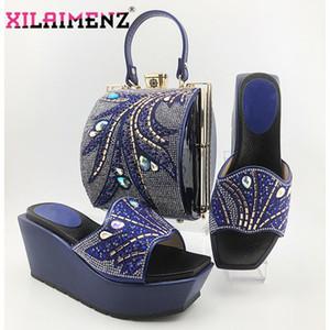 Mulheres New Arrivals Royal Blue Africano sapatos e bolsa para combinar senhora italiana sapatos combinando Bag Set para o casamento com Crystal