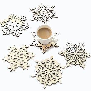 Plato de los copos de nieve de madera Dinner Party Decoraciones de la Navidad Mat Copa Bandeja Cojín para la decoración casera 6 Estilo EWF2278