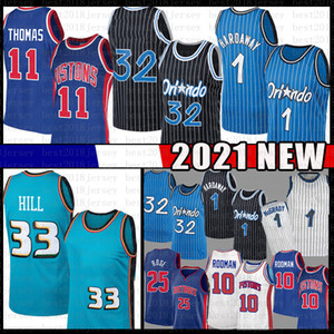 Grant 33 Hill 32 L Penny 1 Hada Basketball Jersey Tracy 1 McGrady Derrick 25 Rose Isiah 11 Thomas Dennis 10 Rodman Mesh Jerseys Retro