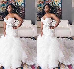 2021 Vintage Ivory mermaid wedding dresses plus size cheap bridal gowns with lace appliques vestidos de novia