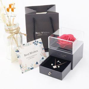 Yapay Gül Çiçek Mücevher Kutusu Romantik Sevgililer Günü Anneler Günü Festivali Yaratıcı Hediye Gül Sabun Çiçek Mücevher Kutusu Hediye Paketi R4025