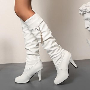 Gigifox 2020 New Design Large Sizes 44 Spike High Heels Mid Calf Boots Women Shoes Metal Decoration Fashion Spring Boots Ladies