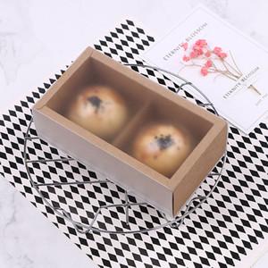 Brown Kraft Paper Moon Cake Boxen mit PVC-Fenster-Ei-Yolk Blätterteig Verpackungsschachtel