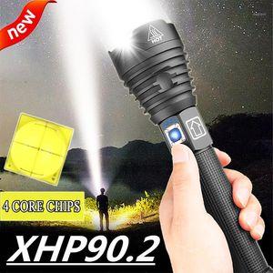 400000 LM XHP90.2 가장 강력한 LED 토치 USB XHP50 충전식 전술 손전등 18650 또는 26650 손 램프 XHP701