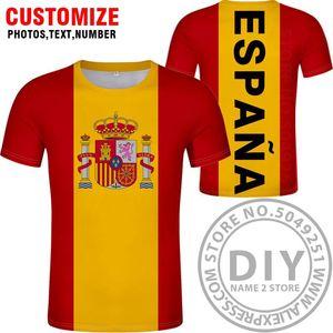 Испания Футболка Diy Free сшитого Имя Номер Esp T Shirt Nation Флаг Es Испанская Страна Колледж фотопечать Логотип Текст Одежда jllFzS