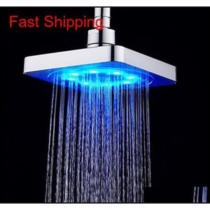 Hot Sale Bathroom Square Water Flow Adjustable Romantic Matic Led Shower Head For Bath jllGvP lucky2005