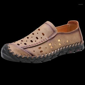 Fashion Hommes Casual Beach Sandales En Cuir Summer Extérieur Homme Chaussures à pied Natation Eau Play Homme Chaussures Sneakers Taille 38-461