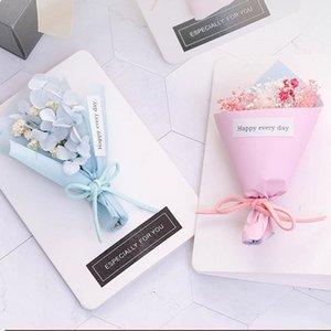 Biglietto di auguri floreale secco con scatola regalo Bouquet Greeting card da festa della mamma regalo cartolina di regalo Party favori inviti di nozze1