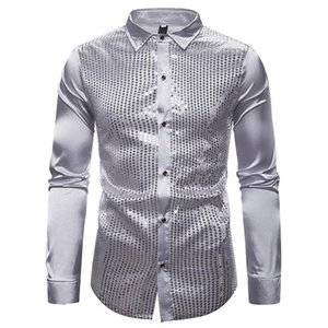 Men's Sequin Shirts Long Sleeve Performance Shirt Nightclub Singer Host Dancer Stage Costume Ball Party Prom Gold Silver Black