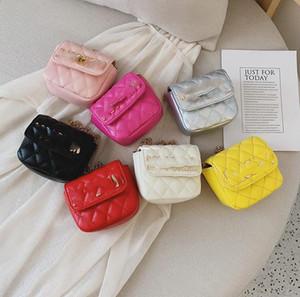 Mode Kinder Taschen Mädchen Diamant Gitterkette One-Umhängetaschen Kinder Metall Messenger Bag Frauen Mini Handtasche A3970