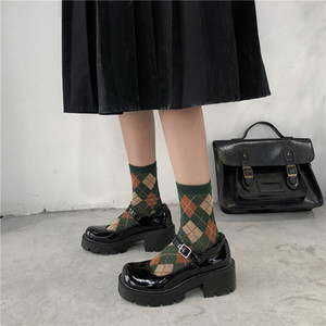 Patentes Lucyever sapatos de couro Primavera Outono sapatos Mary Jane femininas da bracelete Salto Alto Retro Platform Lolita sapatos de mulher