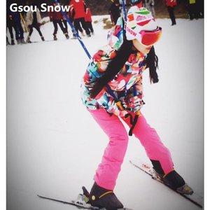 gsou ski بدلة للنساء الشتاء بدلة التزلج الإناث ملون الجليد سترة والسراويل الدافئة للماء سترة snowsuit
