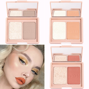 Cmaadu Two Color Makeup Blush Smooth Texture Highlighter Powder Blush Palette Easy to Wear Brighten Contouring Cheek Blush