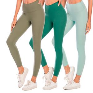 Cor sólida Mulheres calças de yoga cintura alta Gym Sports Wear Workout Leggings Elastic Senhora da aptidão geral completa calças justas com o logotipo