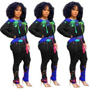 Sıçrama Mürekkep Baskılı Bayan İki Adet Pantolon Gündelik Yığın Tasarımcı İki Parça Setler Mürettebat Boyun Bayan Giyim