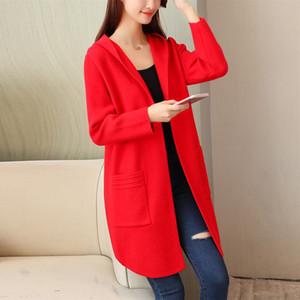 Nova camisola Grande tamanho Jaet feminino longa seção de malha cardigan solto coreano primavera outono casacos com capuz