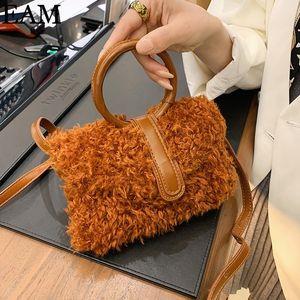 [eam] 겨울 2020 여성의 동향 핸드백과 지갑을위한 가짜 모피 여행 어깨 가방 8A326