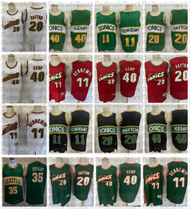 Hombre Seattle Vintage 11 Detlef Schrempf 20 El guante Gary Payton Kevin Durant 40 Reign Man Shawn Kemp Basketball Jerseys