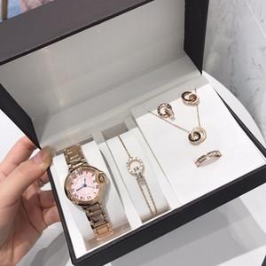 Neue Art und Weise Uhren der Frauen Schmuck 5pcs Sets Ringe Halskette Ohrringe Armband-Dame Gift Klassische Armbanduhr-Qualitäts-Designer Schmuck