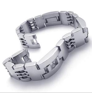 Erkekler Gümüş Noble Şık büyük Paslanmaz Çelik Bağlantı İzle Gruplar Kayışı Kol toka bilezik Bilezik moda takı hediye