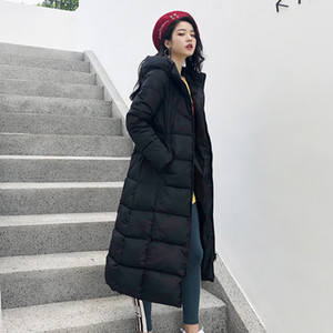 Celebrity Winter Women Jacket X-long Hooded Cotton Padded Female Coat High Quality Warm Outwear Womens Parka Manteau Femme Hiver