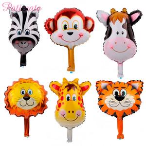 PATIMATE 6pcs lot Animal Head Foil Balloons Lion Monkey Helium Balloon Safari Animals Balloon Kids Toys For Baby Party Deco