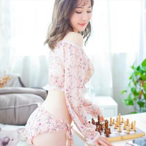Sexy Pajamas Women Long Sleeve Underwear Set See Through Sexy Lingerie Print Summer Tops Thong Sleepwear 2pcs set Women Clothing