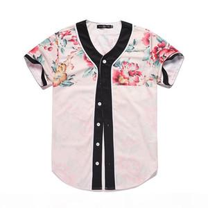 Men Baseball Jersey 3D Flower Digital Printed Shirt Streetwear Tees Shirts Hip Hop Tops Buttons Homme