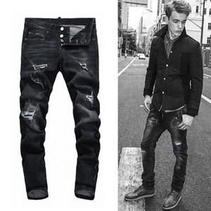 Classic 5 bolsillos pintados Jeans hombre Botón Mosca Mid Rise Denim Planchas Costuras de contraste de los hombres