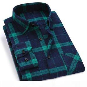 Men Flannel Plaid Shirt 100% Cotton 2020 Spring Autumn Casual Long Sleeve Shirt Soft Comfort Slim Fit Styles Brand Man Plus Size