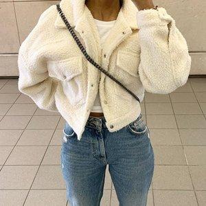 Fashion Lamb Wolle Herbst-Winter-Mantel-Frauen-Jacke Fleece Shaggy Warm Kurzjacken Overcoat Einreiher Outwear T201031