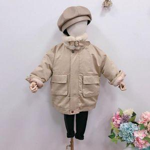DFXD Çocuk Giyim 2020 Kış Kız JacketCoat% 100 Pamuk Faux Kürk Artı Fleece Kalınlaşmak Çocuk Dış Giyim İçin 2-7Yrs Isınma