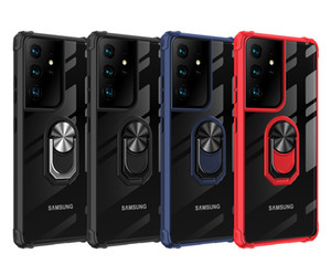 Sargento Acrílico Ring Stand Phone Case Para Samsung S8 S9 S10 S20 Note8 Note9 Note9 Note20 Nota20 A10 A50 A70 A70 S21 MeGnetic Car Holder Phone Case