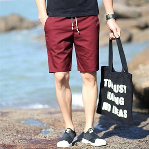 Drawstring Fast Drying Board Shorts Men Beach Elastic Shorts Summer Clothing Casual Short Pants Cotton Male Solid Color Plus Size