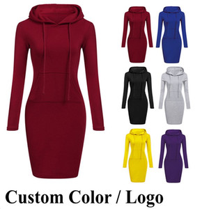 US Stock 8 Colors S-2XL Women Knee Length Casual Hood Pencil Hoodie Long Sleeve Sweater Pocket Bodycon Tunic Dress Top