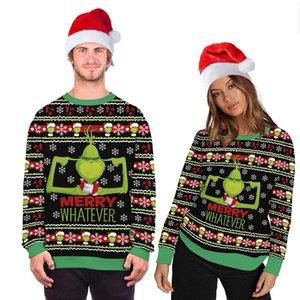 Shirt stampa unisex costume di Natale del fumetto di animazione 3D Digital Fashion maniche lunghe con cappuccio Ugly Sweater di Natale