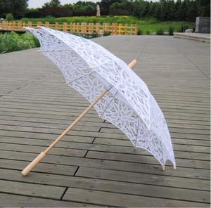 84 см хлопок Bridal Parasol Handmade Battenburg кружева вышивка белый солнце зонтик элегантный свадьба высокое качество фото реквизит