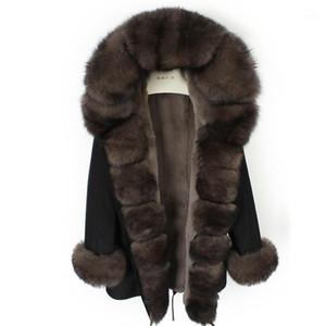 Furtjy 2020 New Real Fur Parkas per le donne Outwear invernali con colletto di pelliccia naturale Giacca nera 90cm Cappotti lunghi Plus Size1