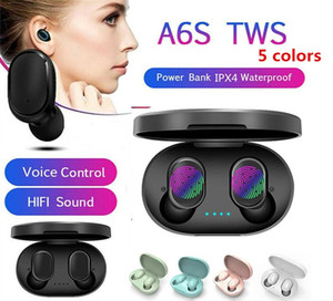 A6S TWS earphone Headphone Bluetooth 5.0 True Wireless Bluetooth Headset with Mic for iPhone Xiaomi Huawei Samsung Smart Phones
