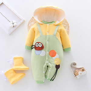 2020 Winter Baby Girl Boy Clothes Infant Jumpsuit Overalls Toddler Romper for Newborn Thick Warm Hooded Coats Baby Boy Clothing Y1221
