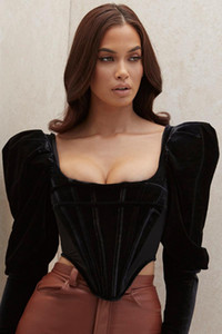 Deive TEGER Mulheres Moda de Nova Boned Corset Black Velvet Long Sleeve Backless Black Top 8349