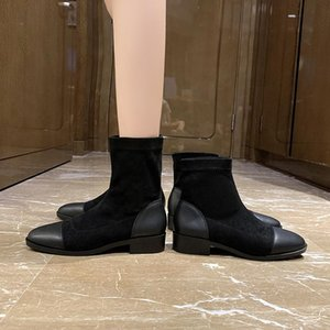 Brand Women's Shoes Boots Boots-women Booties Ladies Fashion Med 2020 Ankle Stockings Rock Rubber Rome Fabric PU