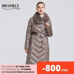 Miegofce Yeni Koleksiyon Kadın Ceket Tavşan Yaka Kadınlar Kış Ceket Sıradışı Renkler Rüzgar Geçirmez Kış Parka 201029